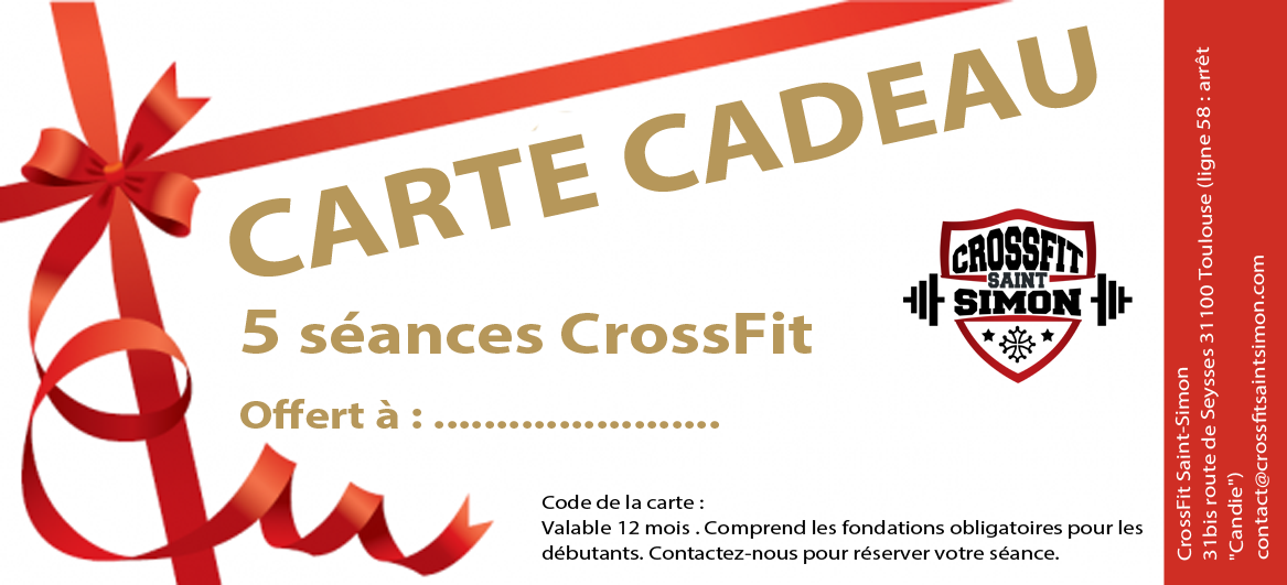 carte cadeau 5 crossfit saint simon salle de crossfit. Black Bedroom Furniture Sets. Home Design Ideas